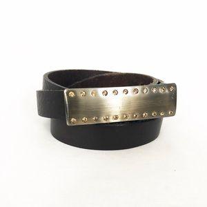 Leather belt in dark brown